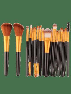 18Pcs Multifunctional Facial Makeup Brushes Set - Black And Golden