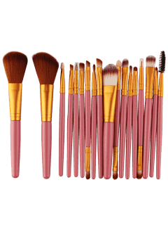 18Pcs Multifunctional Facial Makeup Brushes Set - Gold And Pink