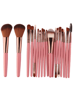 18Pcs Multifunctional Facial Makeup Brushes Set - Pinkish Brown