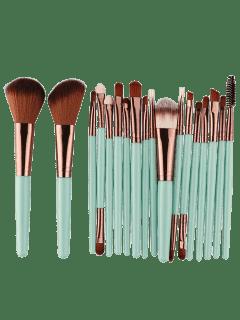 18Pcs Multifunctional Facial Makeup Brushes Set - Green + Brown