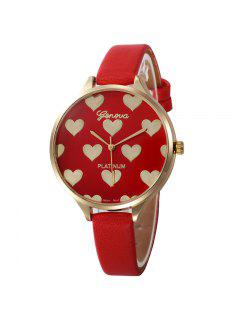 Heart Face Faux Leather Strap Watch - Red