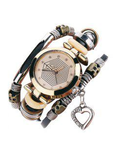 Rhinestone Heart Layered Charm Bracelet Watch - Black