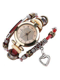 Rhinestone Heart Layered Charm Bracelet Watch - Red