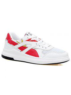 Color Block Mesh Running Athletic Shoes - Red With White 40