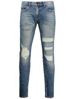 Vintage Distressed Jeans - Denim Blue 34