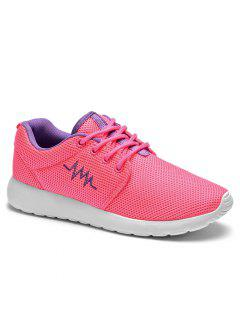 Embroidery Line Mesh Athletic Shoes - Peach Red 38