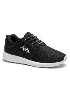 Embroidery Line Mesh Athletic Shoes - Black White 38