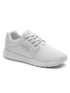 Embroidery Line Mesh Athletic Shoes - White 38