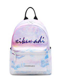 Faux Leather Painted Backpack - Pink