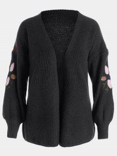 Floral Embroidered Lantern Sleeve Cardigan - Black