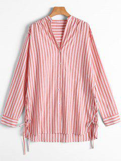 Stripes Button Up Lace Up Shirt - Red And White S