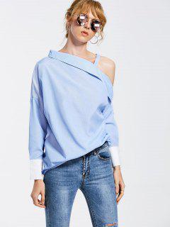 Skew Collar Drop Shoulder Striped Blouse - Light Blue M