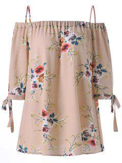 Plus Size Floral Cold Shoulder Blouse - Apricot 4xl