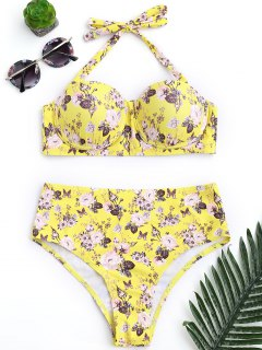 Push Up Floral Underwire High Rise Bikini - Yellow S