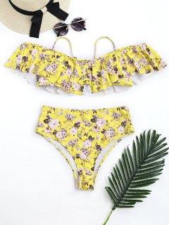 Floral Frilled High Waisted Bikini Set - Yellow L