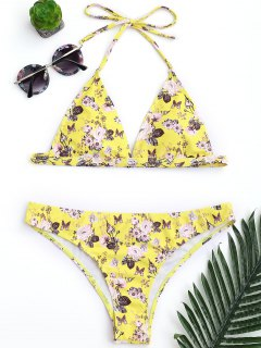 Padded Tiny Floral High Cut Bikini Set - Yellow M
