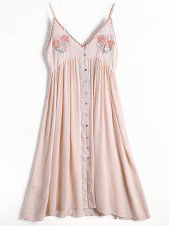 Floral Embroidered Button Up Slip Dress - Light Pink M