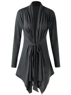 Asymmetrical Shawl Collar Draped Cardigan - Deep Gray L