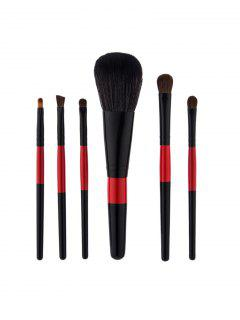 6Pcs Color Block Makeup Brushes Set - Black