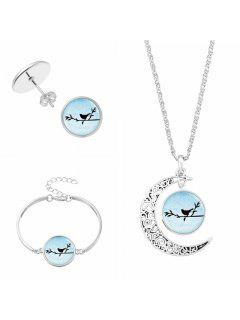 Moon Bird Necklace Bracelet And Earring Set - #01