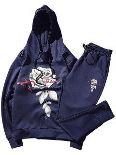 Floral Print Drawstring Hoodie And Jogger Pants - Cadetblue Xl
