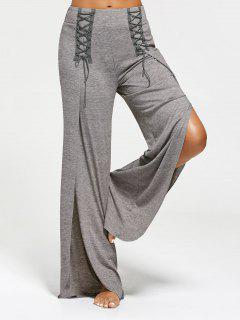 High Slit Palazzo Pants With Lace Ups - Gray Xl