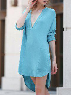 Low Cut Long Sleeve Plunge Dress - Lake Blue L