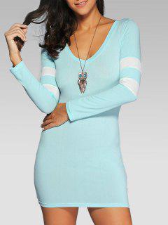 V Neck Stripes Bodycon T Shirt Dress - Light Blue L