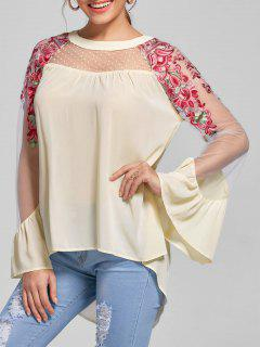 Embroidery Flare Sleeve High Low Hem Blouse - Light Beige Xl