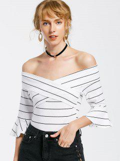 Off The Shoulder Flare Sleeve Striped Bodysuit - White S