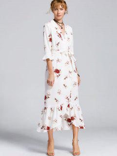 High Slit Floral Belted Maxi Dress - White L