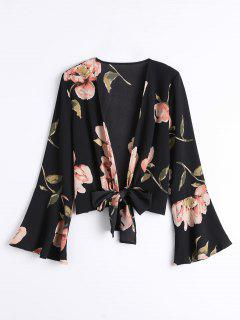 Bowknot Floral Flare Sleeve Blouse - Black L
