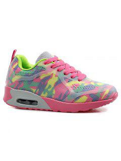 Air Cushion Multicolor Athletic Shoes - Red And Green 37