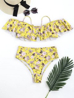 Floral Frilled High Waisted Bikini Set - Yellow L