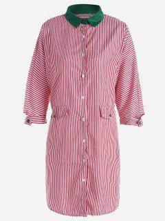 Robe Chemise Boutonnée à Rayures - Rouge L