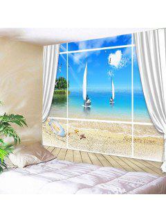 Wall Hanging Art Decor Window Tapis D'impression Pour Bateaux De Plage - Bleu Largeur 59pouces*longeur 51pouces
