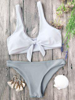 Gepolsterte Knoten Bralette Bikini Set - Grau & Weiß M