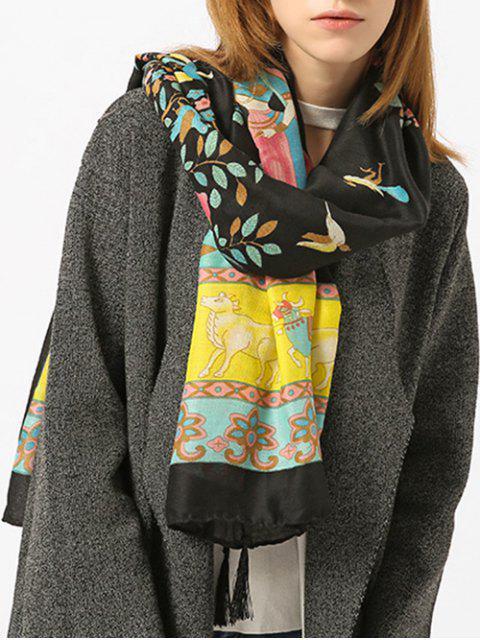 Tassels Ethnique motif motif écharpe châle - Noir  Mobile