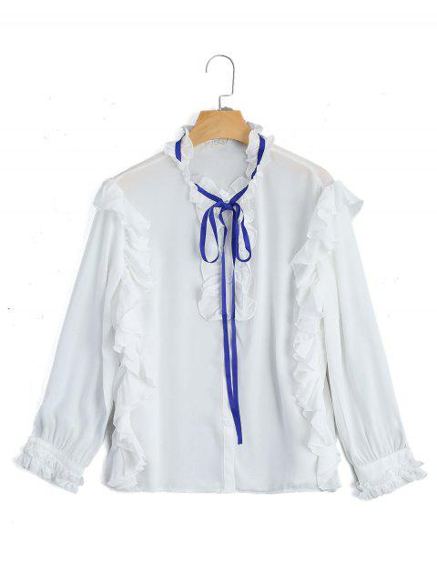 Rüschen Saum Knopf Oben Bluse - Weiß L Mobile