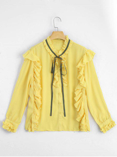 ladies Ruffle Hem Button Up Blouse - YELLOW S Mobile