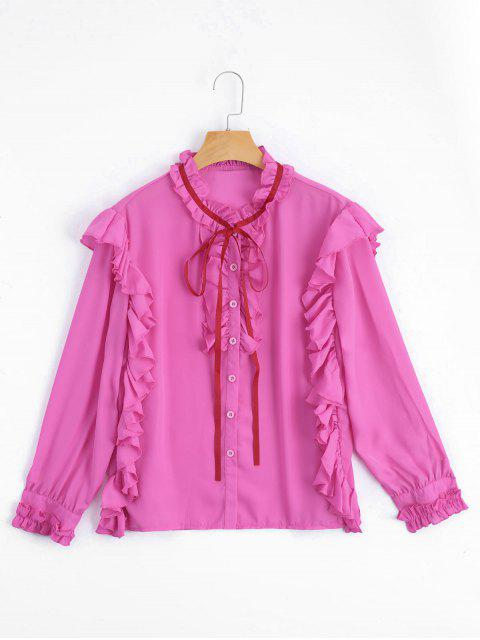 outfit Ruffle Hem Button Up Blouse - ROSE RED S Mobile