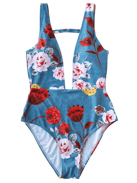 women One Piece Plunging High Cut Floral Swimwear - LIGHT BLUE L Mobile