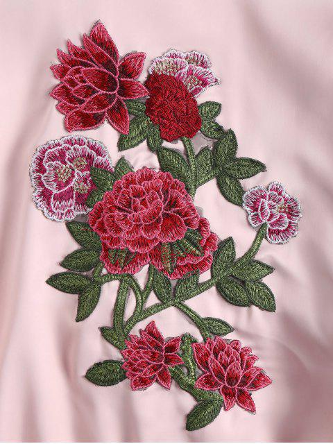 outfits Embroidered Zip Up Souvenir Jacket - PINK S Mobile