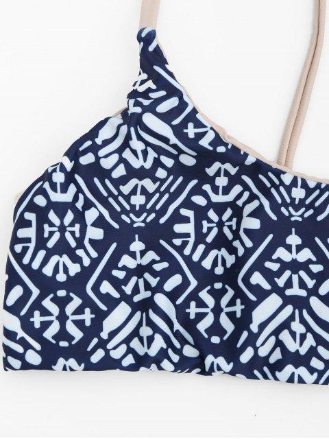 sale Tile Print Cami Bralette Bikini Set - BLUE AND WHITE M Mobile