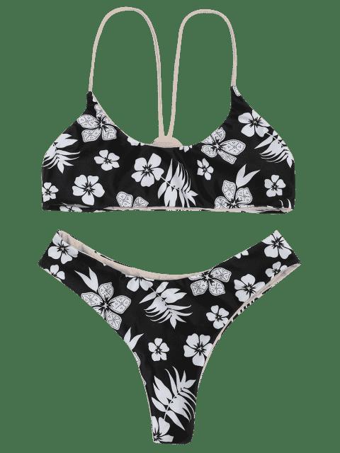 ladies Floral Cami Bralette Bikini Set - WHITE AND BLACK M Mobile