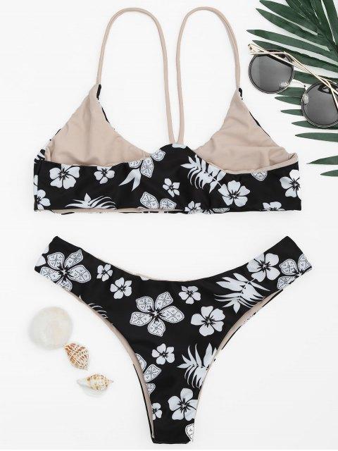 Ensemble de bikini Floral Cami Bralette - Blanc et Noir S Mobile