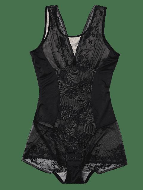 fancy Body Firming Girdle Shaping Bodysuit - BLACK 2XL Mobile