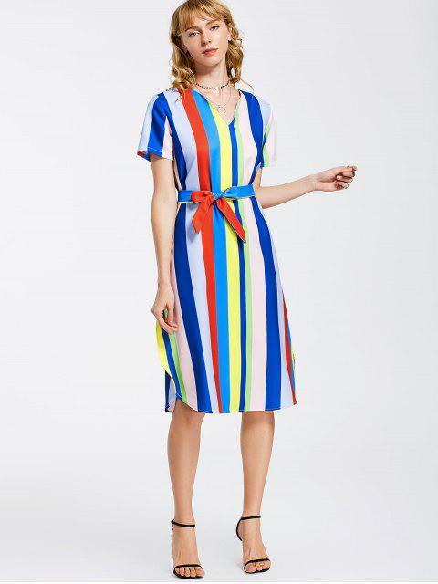 ladies Belted Stripes Casual Midi Dress - STRIPE XL Mobile