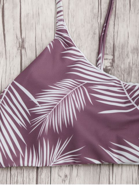 outfits Palm Leaf Print Padded Bralette Bikini Set - PURPLE AND WHITE L Mobile