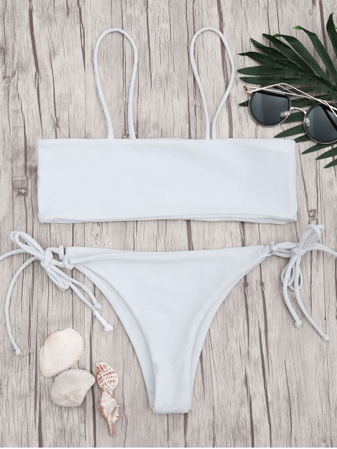 trendy Bandeau Bikini Top and Tieside String Bottoms - WHITE M Mobile